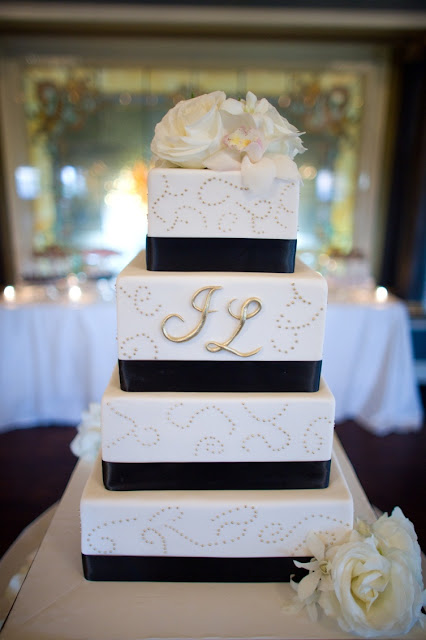 4 Tier Wedding Cake with Gold and Black - Minneapolis