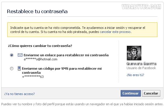 Reestablecer contraseña Facebook