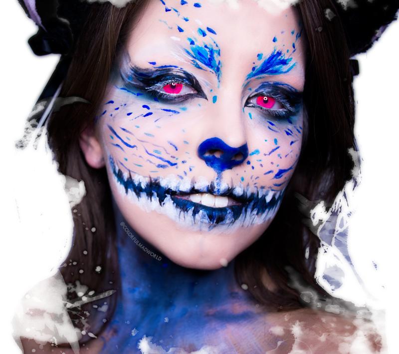 cheshire cat, alice in wonderland, alicja w krainie czarów, kot z cheshire, makijaż na halloween, prosty makijaż na halloween, halloween make-up tutorial, make-up step by step, colorful mad world, mad world, make-up blog, blog urodowy, recenzja kosmetyków, sienia, blog sienia, paulina sienia, Sleek Bad Girl,KOBO Professional pigment Cornflower, Inglot Matte 317, Inglot Duraline, biała farba do ciała