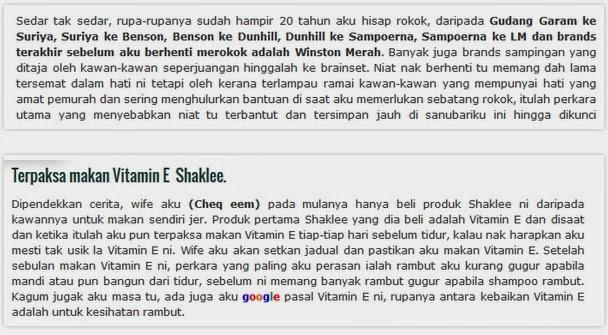 berhenti merokok dengan vitamin e shaklee