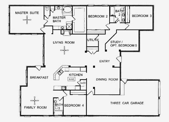 denah rumah minimalis 1 lantai dengan 4 kamar tidur 1001