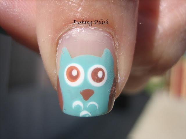 Owl Feather Nail Art