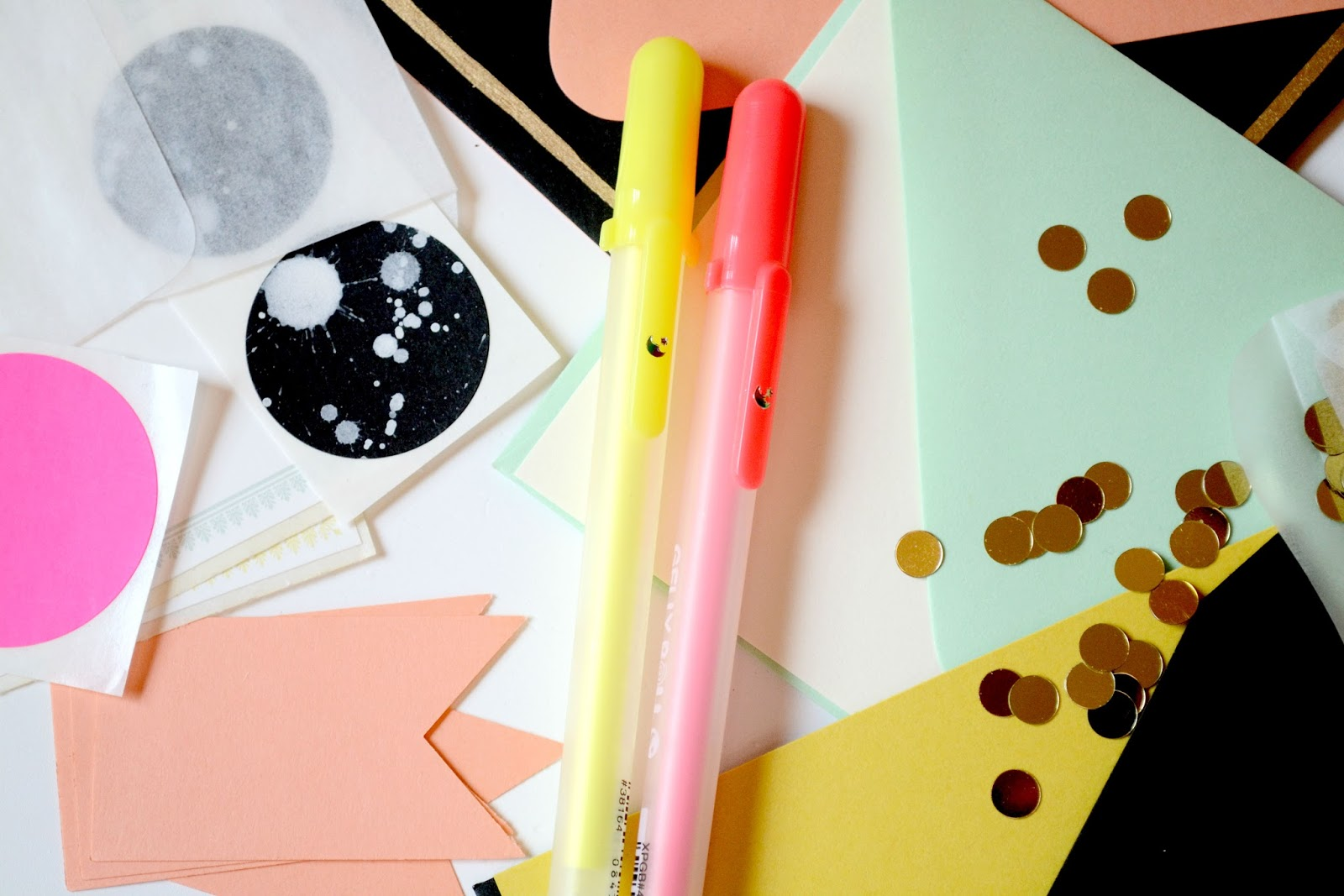 pin to win, neon, envelopes, coral, stickers, confetti, gold, #pintowin
