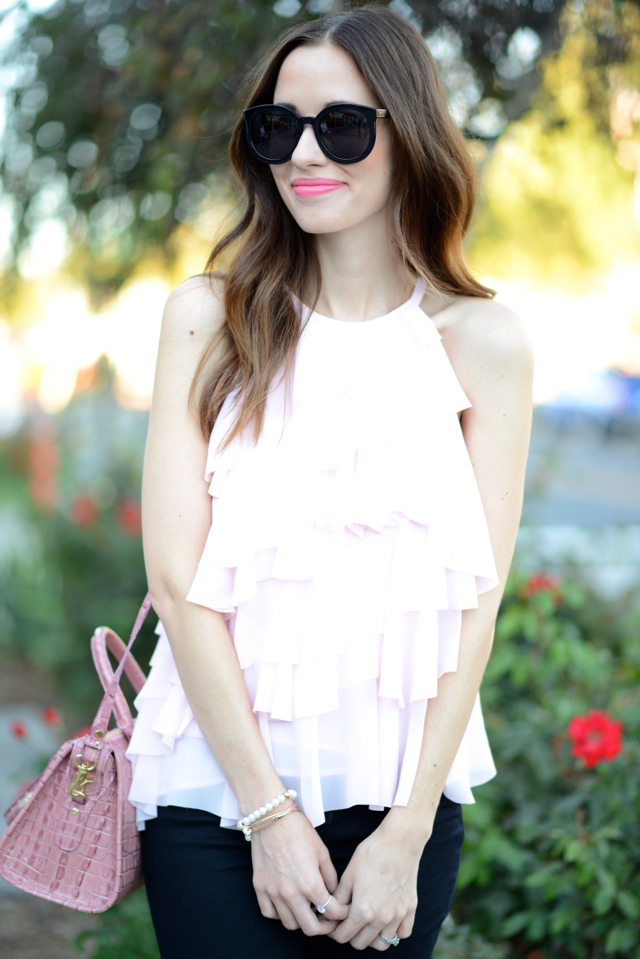 pink ruffled french connection blouse via M Loves M @marmar