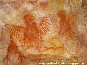 Pinturas rupestres do homem pré-histórico de Goiás