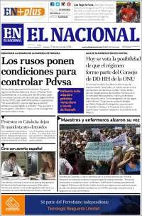 PRIMERA PAGINA DE EL NACIONAL DE CARACAS