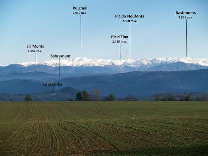 El Pirineu de Núria des de Sant Bartomeu del Grau. Distingim la masia de la Guàrdia, el nucli de Sobremunt i el Santuari dels Munts. Al darrere de tot el Puigmal