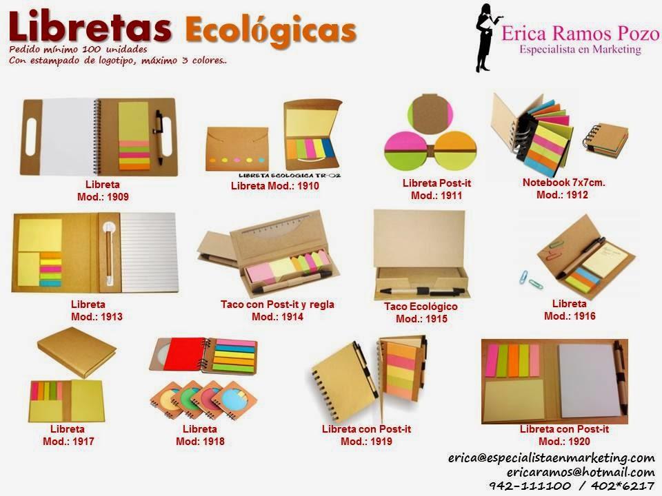 lapiceros ecologicos, post-it,cuadernos ecologicos