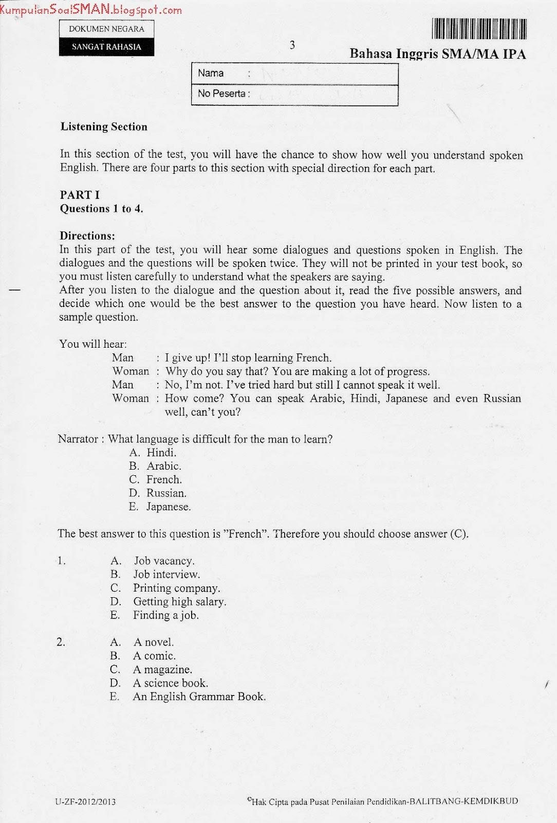 Soal Un Bahasa Inggris Sma Ipa Kode Soal 49 Ta 2012 2013 Download Soal Sma Ma Gratis