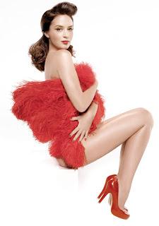 Emily Blunt in red pumps nice legs