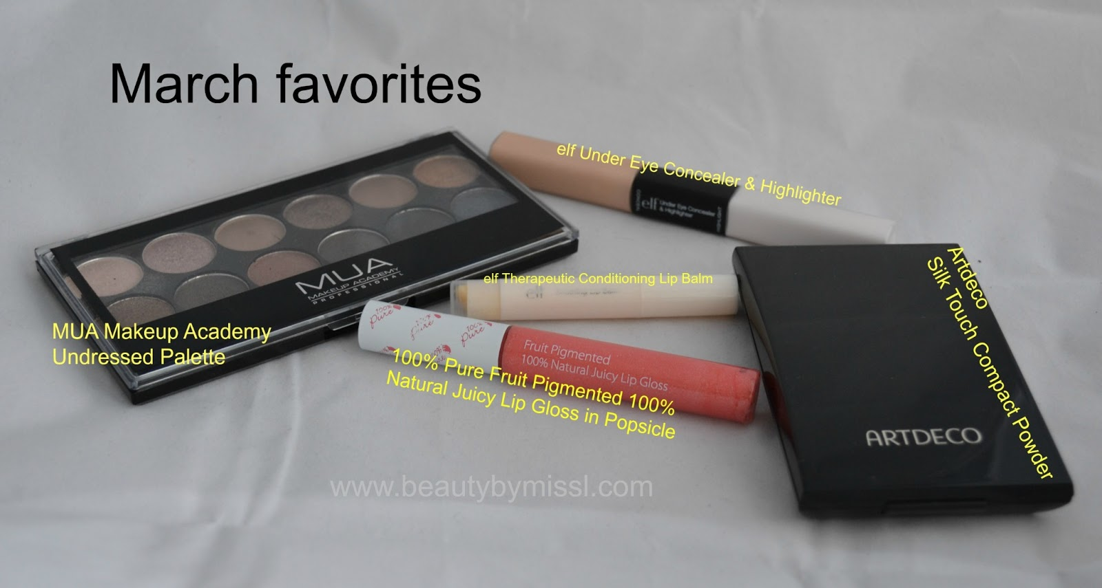 mua undressed palette, 100% pure lipgloss, artdeco powder,