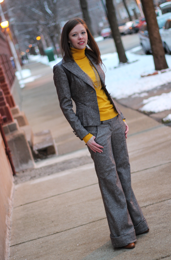 StyleSidebar - Wide Leg Tweed Pant Suit