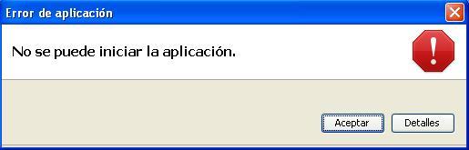 No se puede iniciar la aplicación