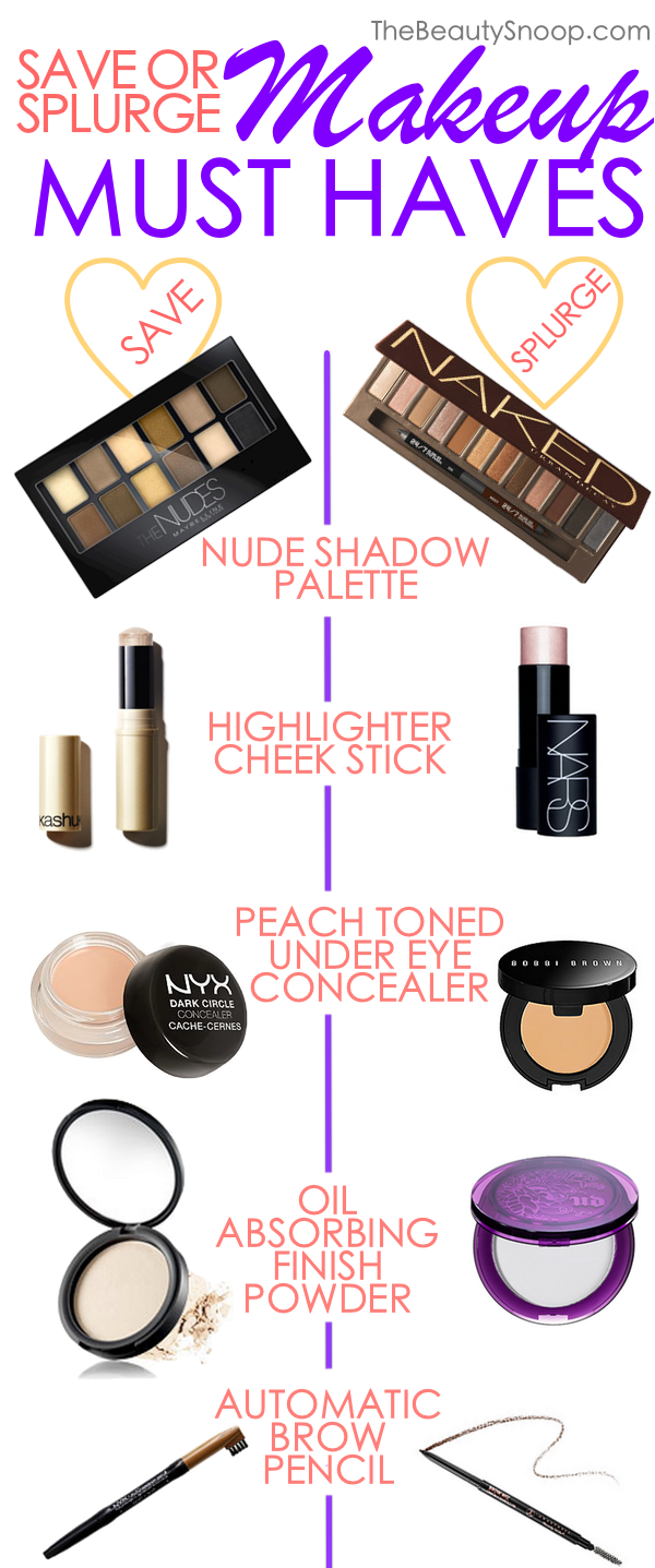 The makeup essentials every women needs on any budget, splurge makeup, save makeup