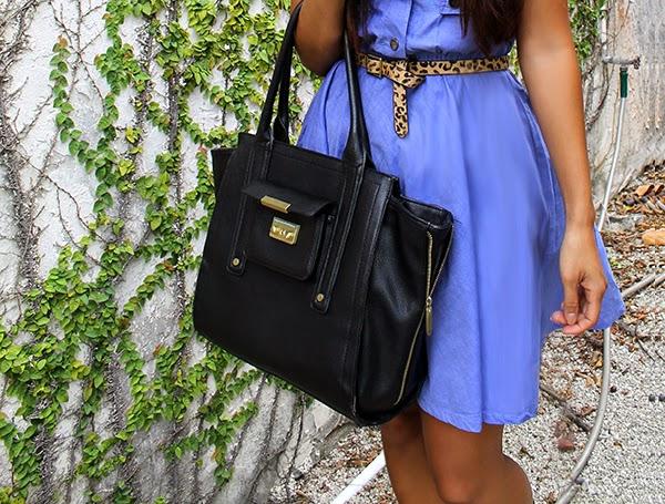 fashion blogger, miami fashion blogger, style by lynsee, lucky magazine, teen vogue, seventeen, popsugar, popsugar fashion, popsugar blogger, le tote, target belt, traffic shoe, phillip lim, 31 phillip lim, blue dress, chambray dress, sunday dress, summer dress, spring fashion 2014, spring trends 2014, black heels, black tote, black bag