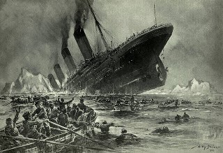 engraving of Titanic sinking