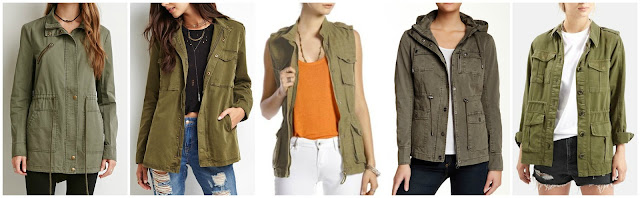 Forever 21 Drawstring Utility Jacket $21.00 (regular $24.90)  Forever 21 Buttoned Zip Front Utility Jacket $37.90 more from Forever 21 here and here  Lucky Brand Military Vest $55.99 (regular $99.00)  Blanc Noir Enzyme Wash Utility Jacket $69.97 (regular $150.00)  Topshop Elsa Four Pocket Utility Jacket $85.00