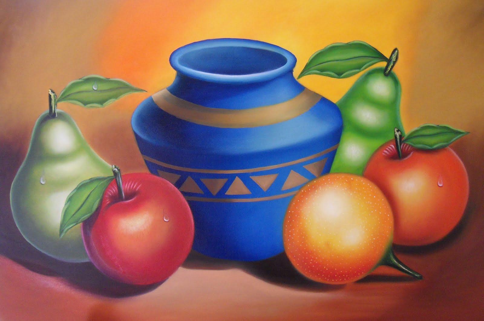 Imágenes Arte Pinturas: BODEGON CON OLLA Y FRUTAS, OLEO SOBRE LIENZO