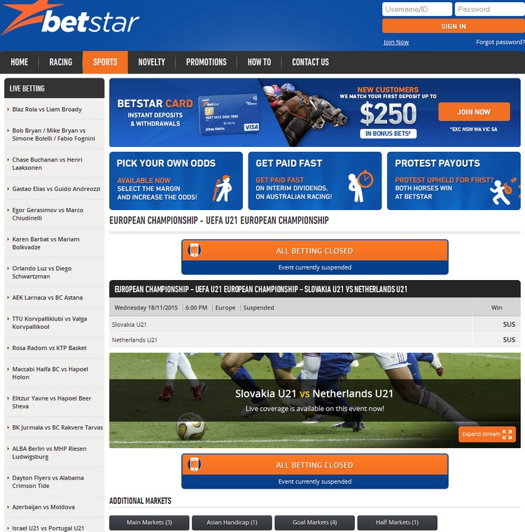 Betstar Live Betting Offers
