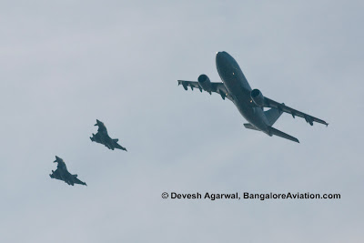 Eurofighter Typhoons in formation with Airbus A310-304 MRTT