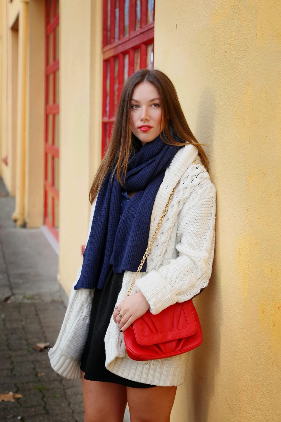 to vogue or bust, vancouver style blog, vancouver fashion blog, alexandra grant, canadian fashion blog, fall fashion, fall style, vancouver blog, h&m men's cardigan, mary nichols bag, h&m skirt, zara dotted blouse, joe fresh scarf, zara booties, fashion magazine style panel