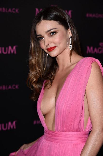XXX UNCUT: Miranda Kerr Side Boobs In Sexy Pink Dress