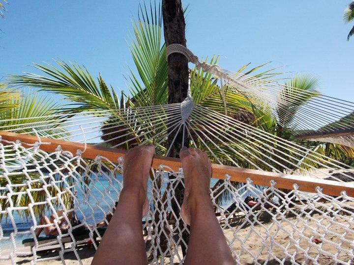 Top tips for travelling - sitting in hammock Fiji