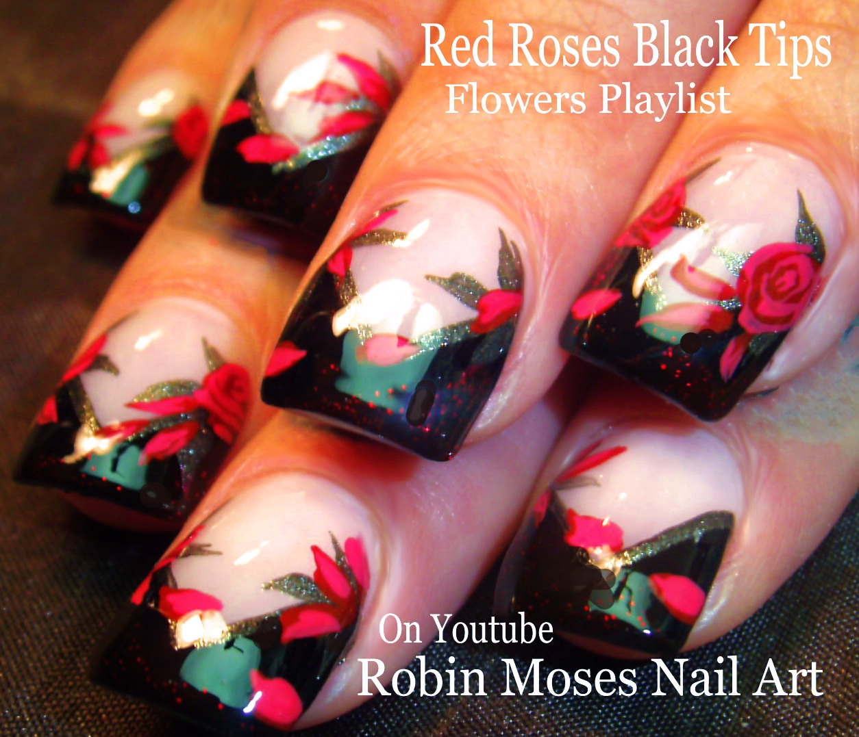 Robin moses nail art red roses on black tips roses do it roses do it yourself how to paint roses red rose ideas red roses clip art red roses nail art red rose nails rose nails red rose design solutioingenieria Choice Image