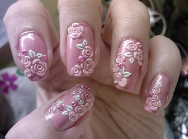 Pink Flowery Nail Art