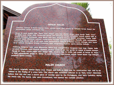 A plaque about the history of Chapel of Santa Cruz, Malim in Malacca