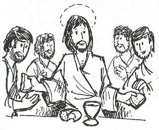 Jesús instituye la eucaristía para colorear