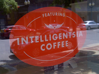 Red Intelligentsia Coffee sign in storefront window