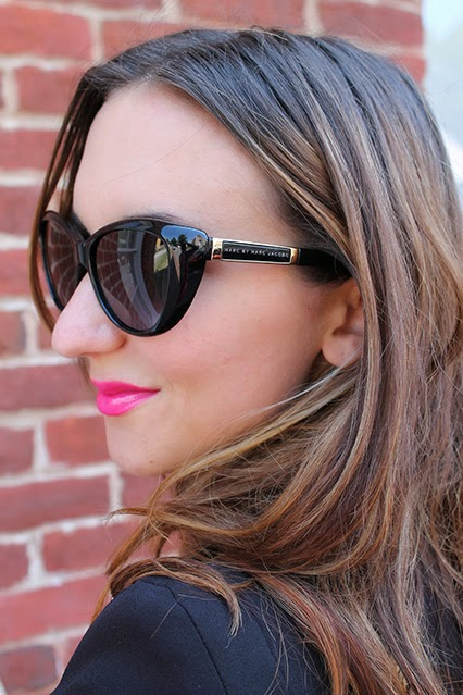 black blazer, broome street jeans. kate spade jeans, chinese laundry heels, topshop tank, marc jacobs sunglasses, mac pink lipstick