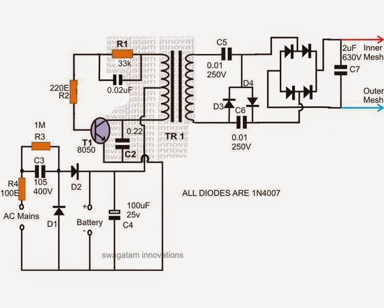 electronic zapper circuit diagram