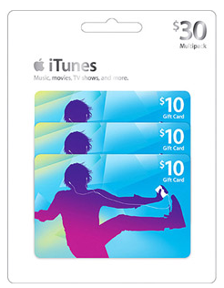 Apple iTunes $30 Multipack - 3/$10 Gift Cards Just $25!
