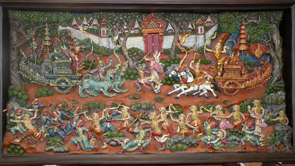 Thai woodcarving, a scene from Ramakien (Ramayana)