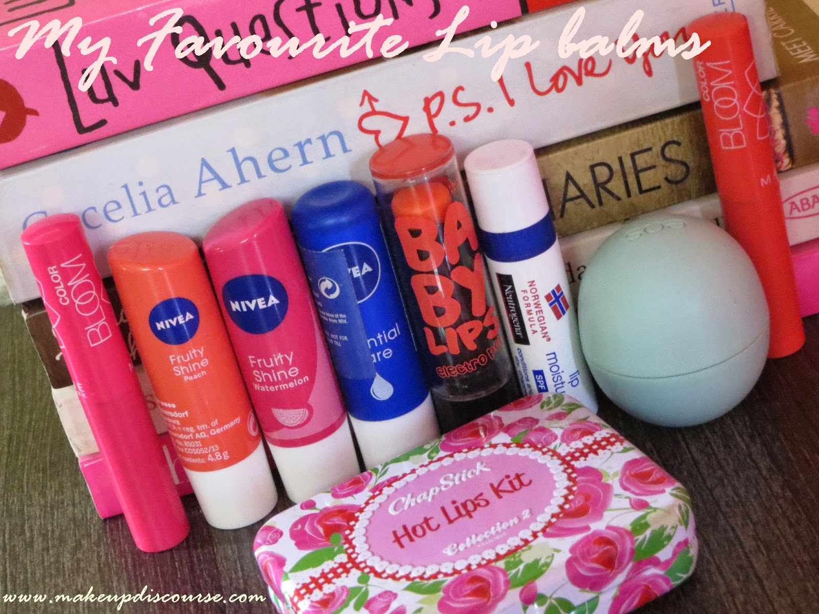 Maybelline Baby Lips Electro Pop, Maybelline Lip Bloom, Neutrogena Lip Moisturizer, Chapstick Lip Moisturizer, Nivea Fruity shine watermelon and peach and essential care, EOS Lip balm sweet mint in India
