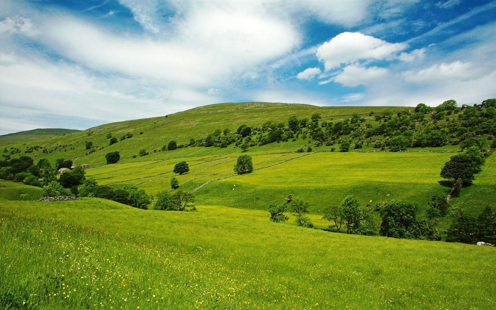 beautiful wallpapers: clouds blue sky green grass hills nature