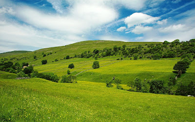 Beautiful Wallpapers: Clouds Blue Sky Green Grass Hills Nature