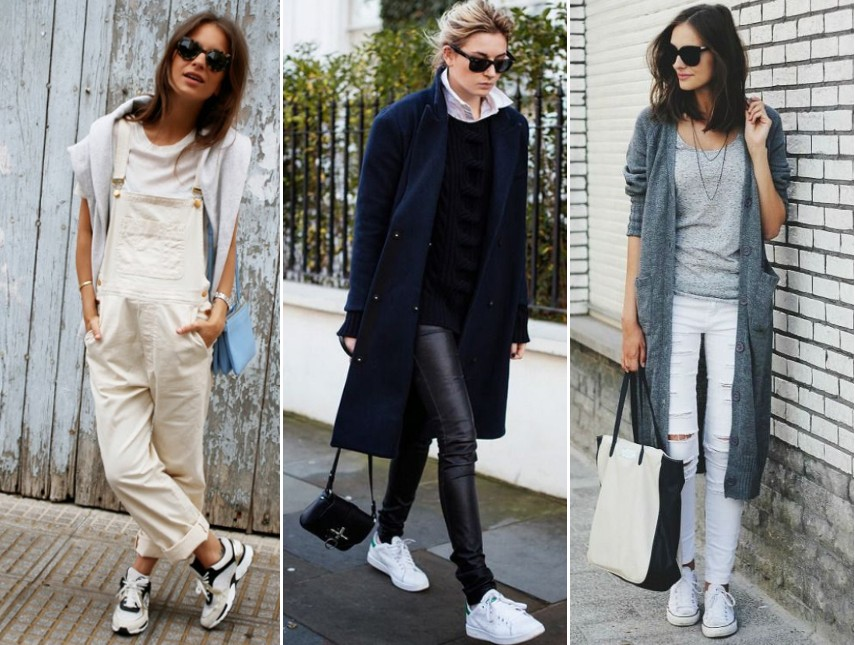 white trainers outfits street style