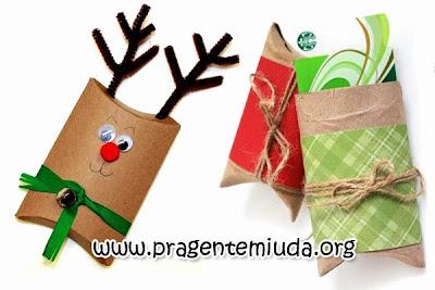 caixinhas de natal com reciclagem de rolo de papel higiênico