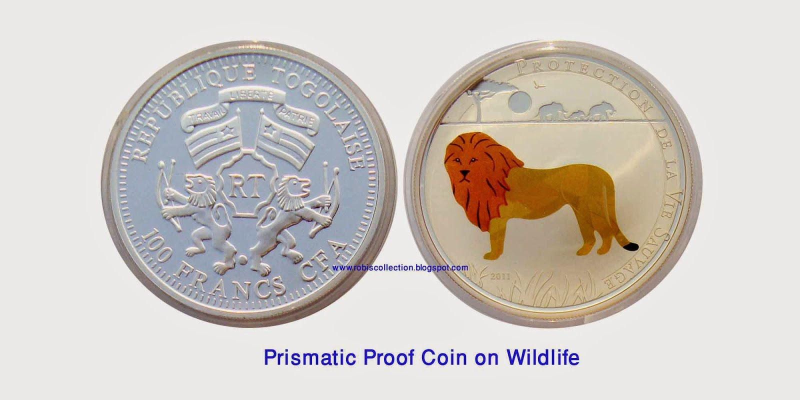 these 100 francs coins from the african nation of togo incorporate a prismatic technology that causes the colors to change and sparkle as the coin is