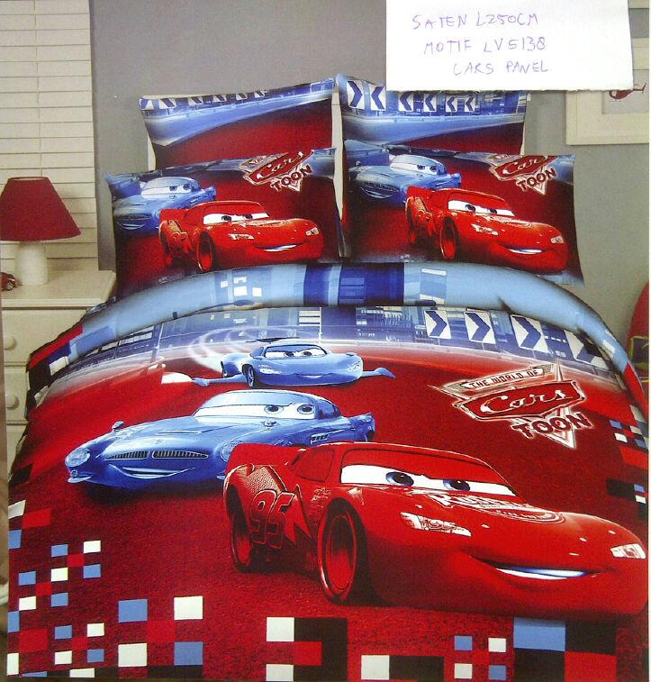 Sprei Anak Motif Cars Merah Panel