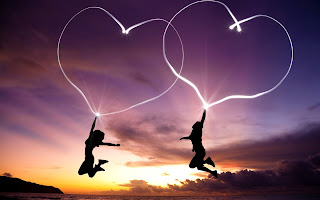Girl Boy Jump Hearts Light Abstract HD Wallpaper
