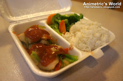 Steamed Fish Fillet with Tomato Sauce, Steamed Broccoli, and Rice