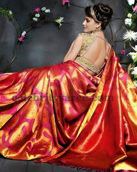 Bridal Sari Gold Wedding Silk Blouse