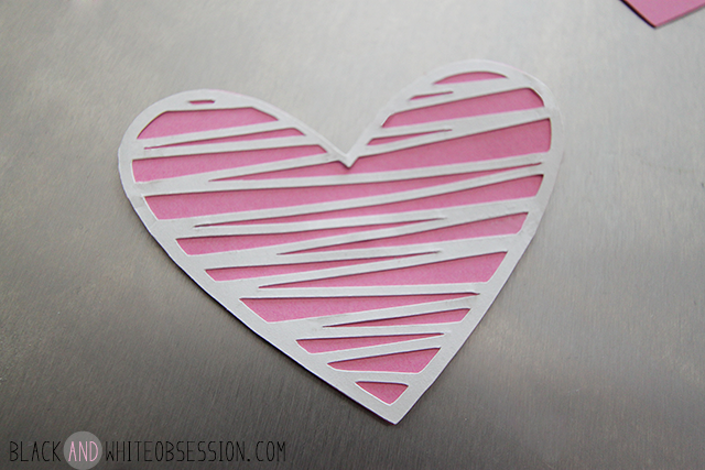 Free Cut File: DIY Valentine's Day Heart Magnets | Pink Zig-Zag/Sketchy | www.blackandwhiteobsession.com