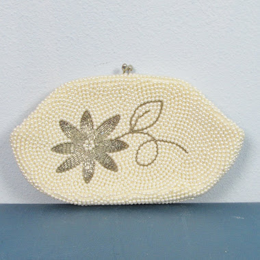 Vintage 1940's Faux Pearl Beaded Clutch