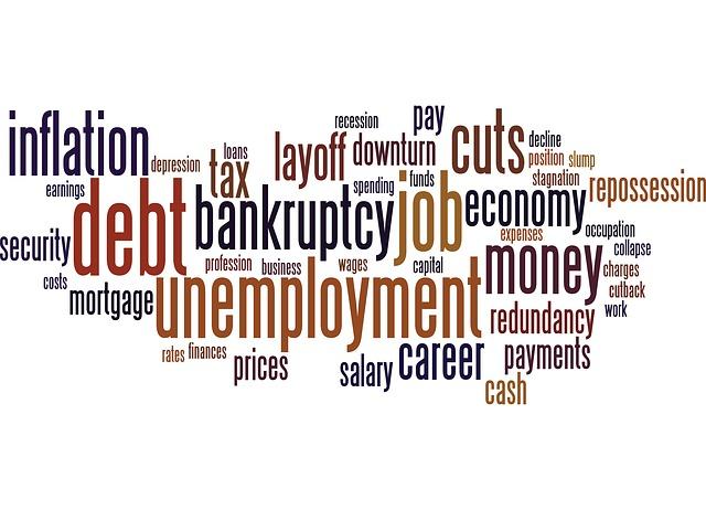 nube de palabras clave sobre economia y la crisis