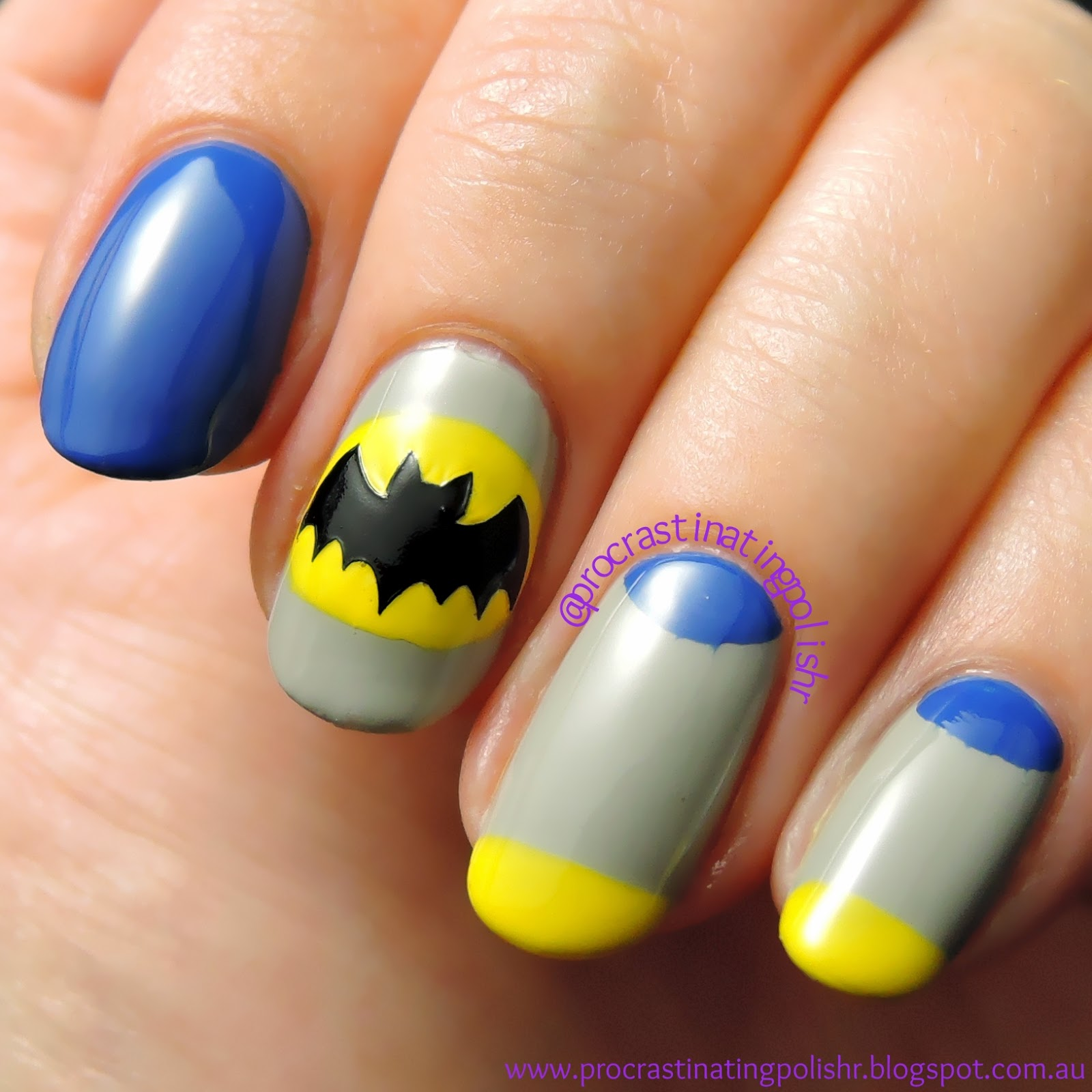 #52WPNMC 70's Batman inspired nail art